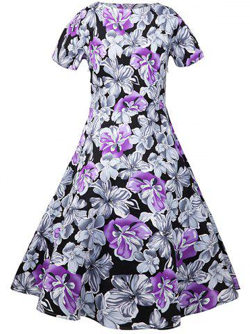 Store Retro Style Floral Midi A Line Dress FLORAL 2XL