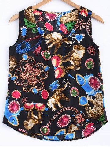 Outfits U Neck Printed Short Tank Top
