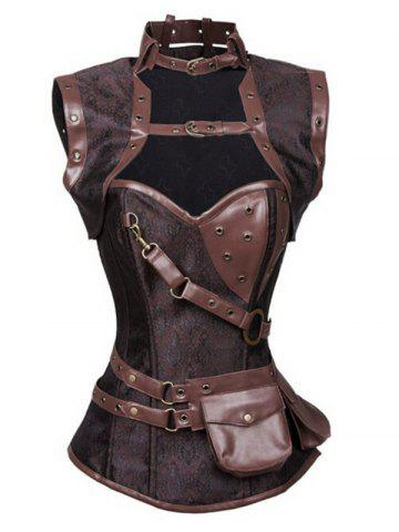 Buckled Pocket Desige Strappy Corset - Deep Brown - 5xl