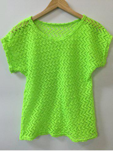 Cheap Batwing Sleeve Hollow Out Crochet Cover-Up