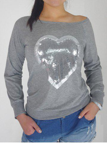 Outfits Sequin Embellished Heart Pattern Sweatshirt GRAY XL