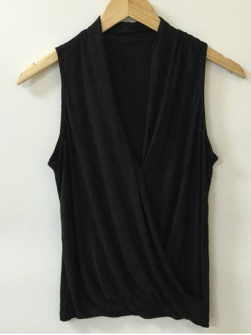 Hot Ruched Surplice Solid Color Tank Top