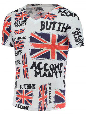 Outfit Cotton Blends 3D Union Jack and Letter Print V-Neck Short Sleeve T-Shirt