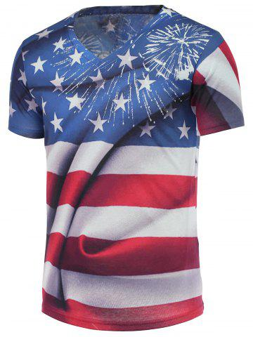 Fancy Cotton Blends 3D Eagle Star and Striped Print V-Neck Short Sleeve T-Shirt COLORMIX 2XL