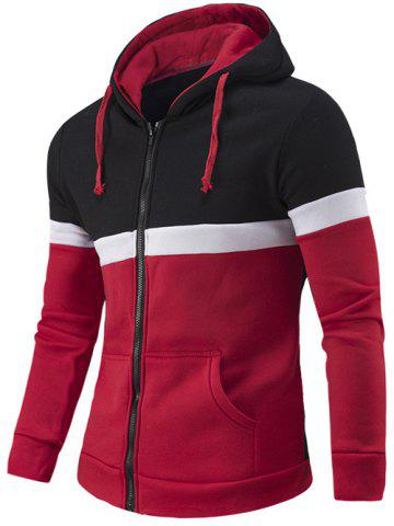Online Zipper-Up Color Block Hoodie RED 2XL