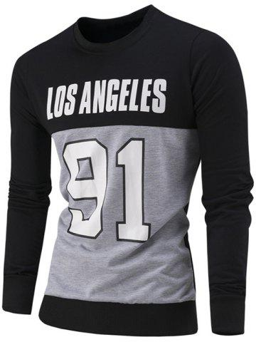 Chic Letter and Number Print Color Block Sweatshirt BLACK 3XL