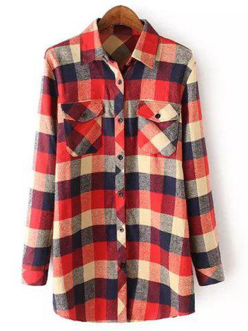 Shops Casual Pocket Tartan Pattern Long Sleeve Shirt RED M