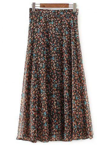 Outfit Casual Tiny Floral Print Chiffon Skirt