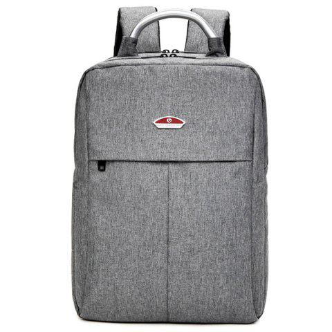 Shop Double Zipper Canvas Metal Backpack - GRAY  Mobile