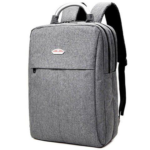 Store Double Zipper Canvas Metal Backpack - GRAY  Mobile