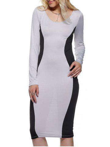 Buy Long Sleeve Hourglass Dress BLACK AND GREY XL