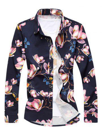 Store Plus Size 3D Floral Print Turn-Down Collar Long Sleeve Shirt