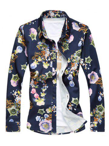 Shops Plus Size 3D Flower Print Turn-Down Collar Long Sleeve Shirt COLORMIX 5XL