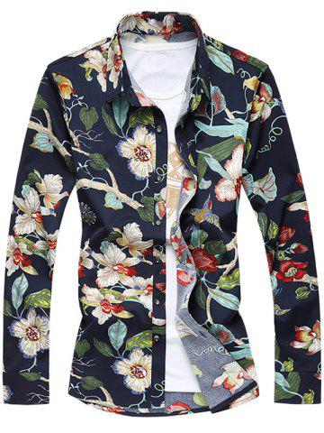 Fashion Plus Size 3D Flowers Print Turn-Down Collar Long Sleeve Shirt COLORMIX 7XL