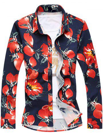 Shops Plus Size 3D Florals Print Turn-Down Collar Long Sleeve Shirt