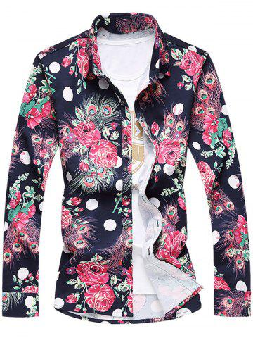 Fancy Plus Size 3D Roses and Peacock Feathers Print Turn-Down Collar Long Sleeve Shirt CADETBLUE 7XL