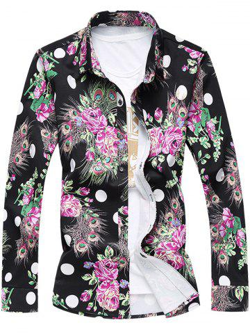 Outfits Plus Size 3D Roses and Peacock Feathers Print Turn-Down Collar Long Sleeve Shirt