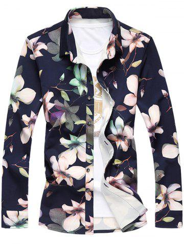 Shop Plus Size 3D Floral Printed Turn-Down Collar Long Sleeve Shirt