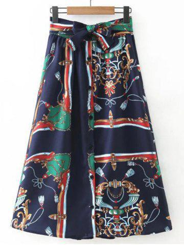 Unique Printed Single-Breasted Tie Belt Skirt