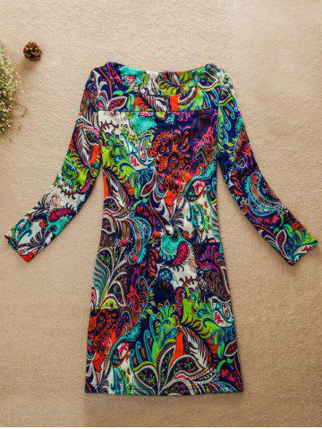 Latest Jewel Neck Abstract Printed Dress