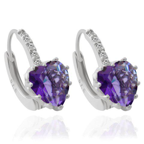 Buy Pair of Rhinestone Heart Hoop Earrings PURPLE
