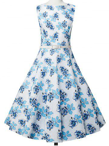 New Floral Sleeveless A Line Vestido Dress