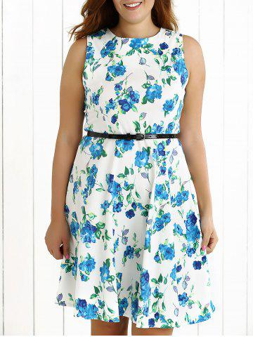Online Plus Size Sleeveless Floral Swing Dress