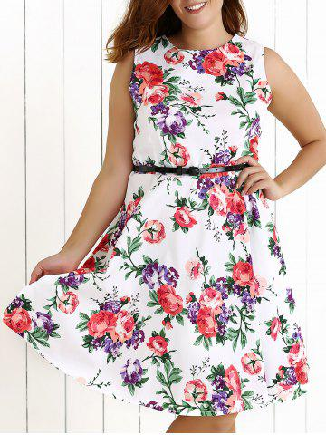 Outfit Plus Size Sleeveless Floral Swing Dress