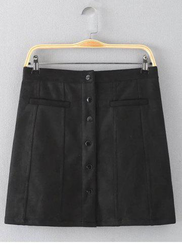Cheap Button Design Solid Color Slimming Skirt BLACK XL