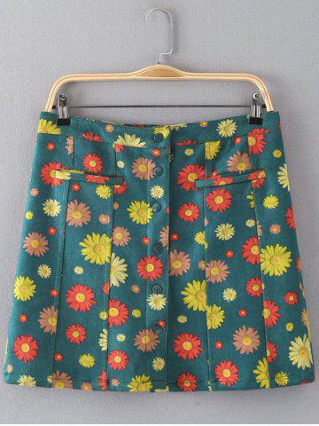 Fancy Floral Print Button Design Faux Suede Skirt GREEN L