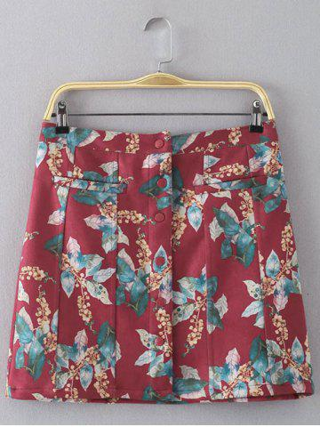 Trendy Leaf Print Button Design Faux Suede Skirt