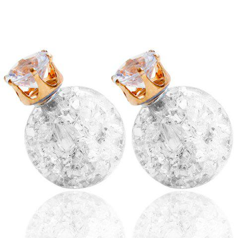 Buy Pair of Rhinestone Candy Color Balls Earrings WHITE