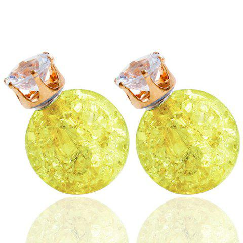 Pair of Rhinestone Candy Color Balls Earrings - YELLOW