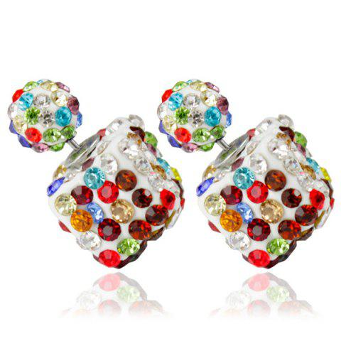 New Pair of Rhinestone Square Ball Dual Earrings