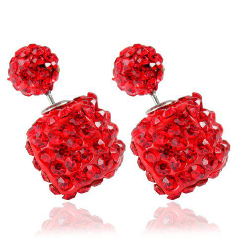 Pair of Rhinestone Square Ball Dual Earrings - Red
