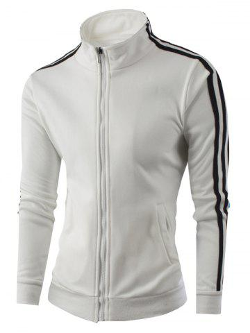 New Stand Collar Zipper-Up Side Striped Jacket WHITE L