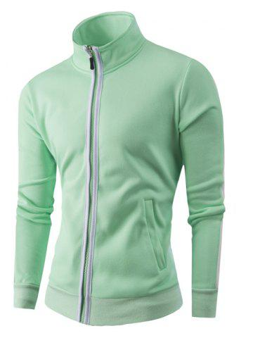 Stand Collar Zipper-Up Color Splicing Jacket