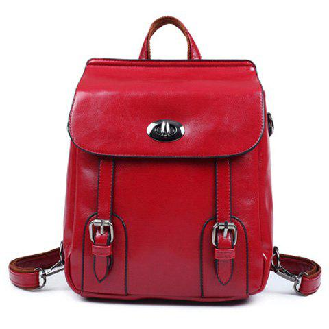 Shop Twist-Lock Closure PU Leather Double Buckle Backpack