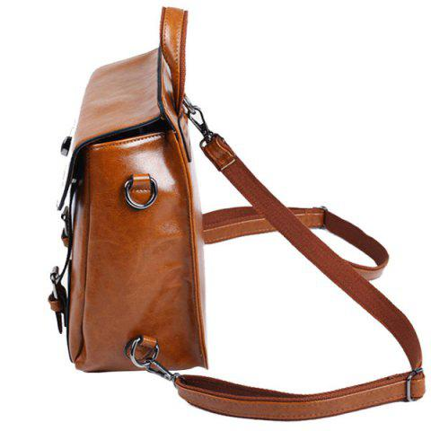 Outfit Twist-Lock Closure PU Leather Double Buckle Backpack - RED  Mobile