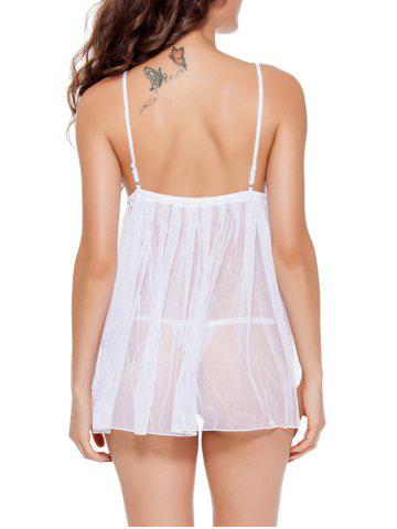 Affordable Spaghetti Strap  TulleTranslucent Babydoll - 2XL WHITE Mobile