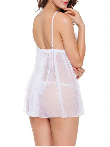 Latest Spaghetti Strap  TulleTranslucent Babydoll - 2XL WHITE Mobile