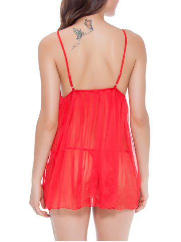 Cheap Spaghetti Strap  TulleTranslucent Babydoll - RED XL Mobile
