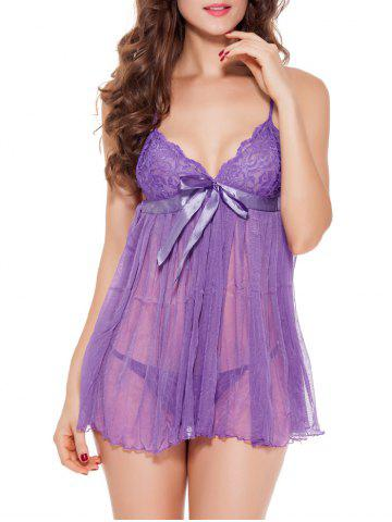 Hot Spaghetti Strap  TulleTranslucent Babydoll - PURPLE XL Mobile