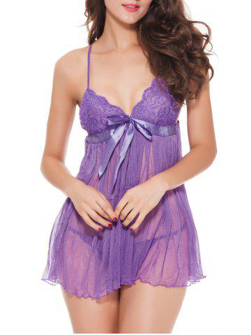 Chic Spaghetti Strap  TulleTranslucent Babydoll - PURPLE XL Mobile