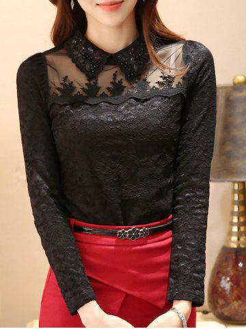 Flat Collar Rhinestone Mesh Spliced Translucent Lace Blouse - Black - S