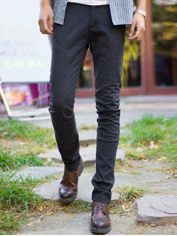 Outfit Zipper Fly Pocket Design Slim Fit Pants BLACK 36