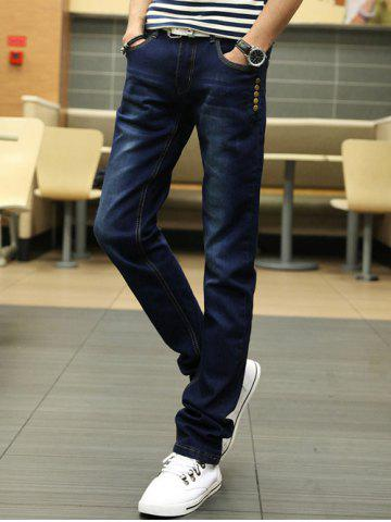 Hot Buttons Design Zipper Fly Slim Fit Jeans BLUE 33