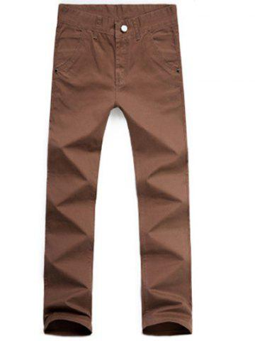 Sale Casual Style Zipper Fly Straight Leg Chino Pants COFFEE 30