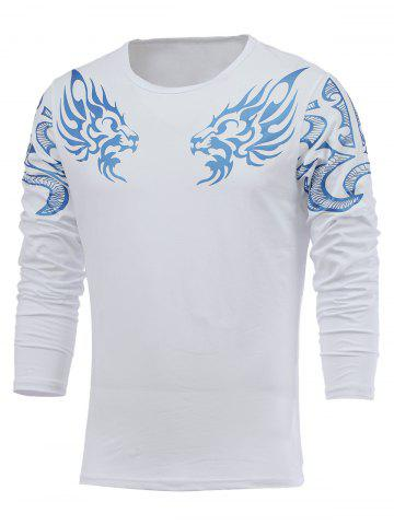 Outfit Round Neck Long Sleeve Dragon Printed T-Shirt