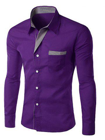 Outfit Stripe Panel Casual Long Sleeve Military Shirt PURPLE L
